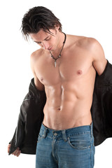 Portrait of confident young man shirtless