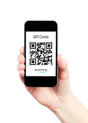 Hand Holding Mobile Phone With QR Code Scanner