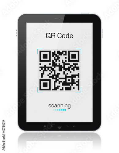 QR Code Scanner On Digital Tablet