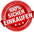 """Button Banner """"100% Sicher einkaufen"""" rot"""