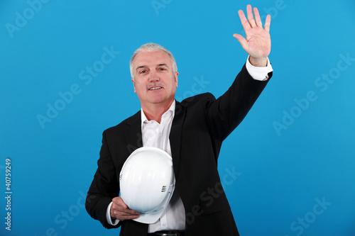 Architect making stop gesture