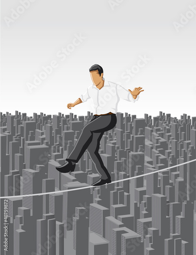 Business man over city on a high tightrope