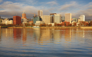 Portland skyline and beautiful sky