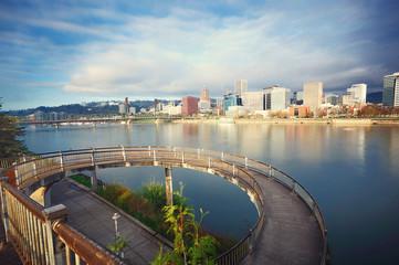 Portland skyline  from circular walkway