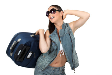 Woman in sunglasses with a suitcase