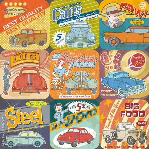 Vintage car advertisements seamless pattern