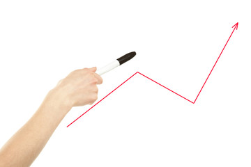Hand pointing at trend line