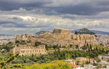 Acropolis under a dramatic sky, Athens, Greece