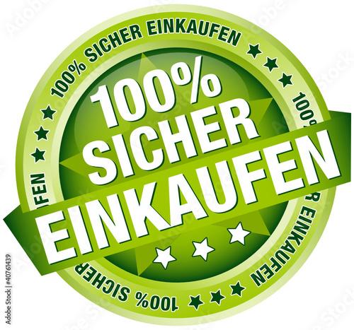"""Button Banner """"100% Sicher einkaufen"""" grün"""