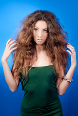 beautiful woman with long hair studio portrait