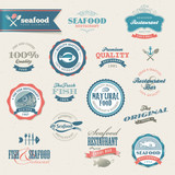 Fototapety Seafood labels and elements