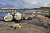 Stones in front of river, Hardangervidda, Norway