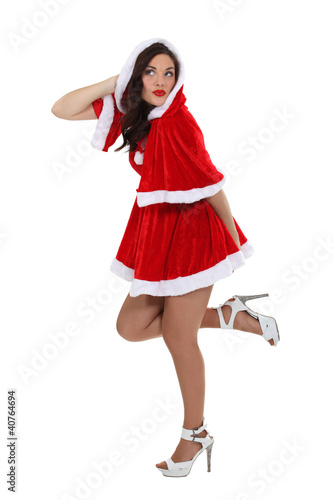 Sexy brunette dressed in festive costume