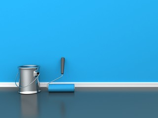 painted wall with a paint roll with blue paint can