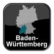 Glossy Button - Deutschlandkarte: Bundesland Baden-Württemberg