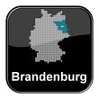 Glossy Button schwarz - Deutschlandkarte: Bundesland Brandenburg