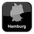 Glossy Button schwarz - Deutschlandkarte: Bundesland Hamburg