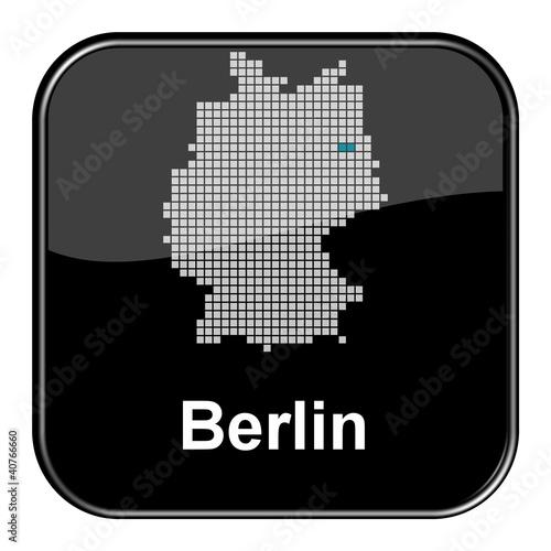 Glossy Button schwarz - Deutschlandkarte: Bundesland Berlin