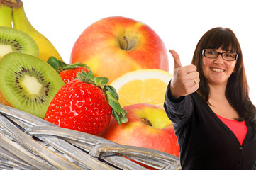 Woman shows a thumbs up from various fruits