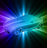 Neon background with car. Vector