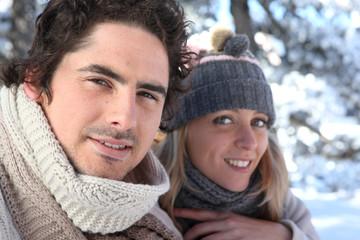 Happy couple on winter walk