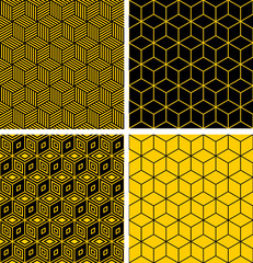 Seamless patterns with optical illusion effect.