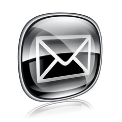 envelope icon black glass, isolated on white background