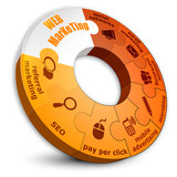 Web Marketing orange circle puzzle
