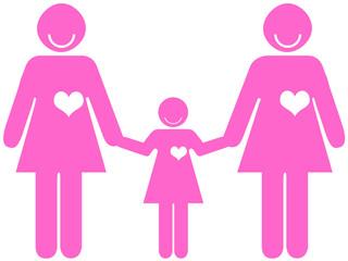 Casal feminino de mão dada a uma criança