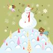 jolly snowman and teddy bear