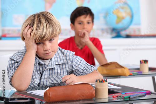 Child in school bored