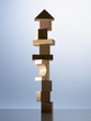 Stack of wooden blocks on table corner