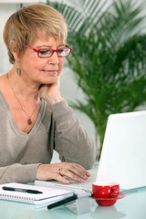 grandmother using laptop