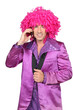 Man in Seventies costume and crazy wig on cellphone