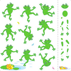 Frogs or toads cartoon characters construction kit