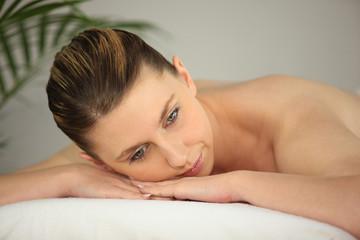 Woman on massage parlor