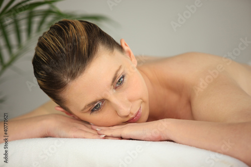 Woman on massage parlor