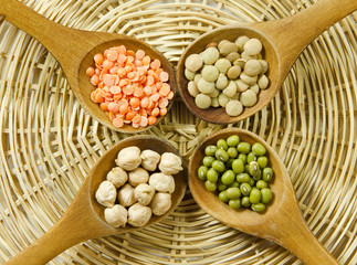 Lentils, mungo beans and chickpeas
