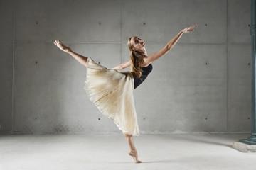 Dancer posing in ornate skirt