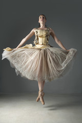 Ballet dancer posing in ornate skirt