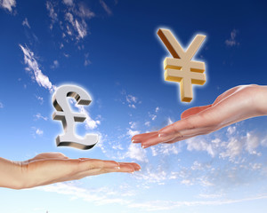 Human hands holding money against blue sky