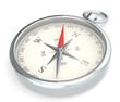 Leinwandbild Motiv Compass. Metal Compass on white background.