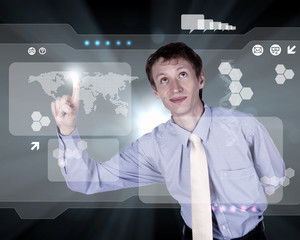 Businessman working with virtual computer screen