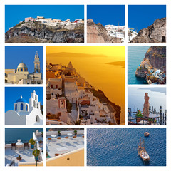 Collage (set) View of Santorini island, Greece