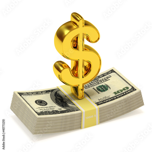 Dollar Sign and bundle of money isolated on white background