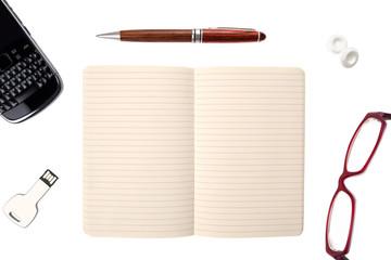 Business objects: personal organizer, pen, mints, glasses, Usb k