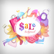 Sale message vector background with bags, shoes and perfume.