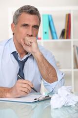 Man making himself sick from stress