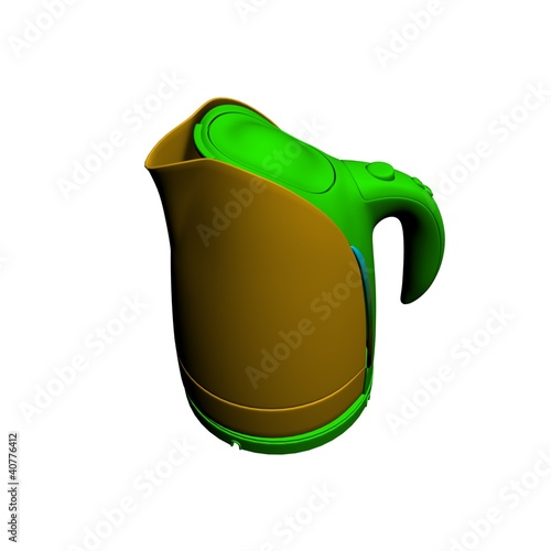 bright lime color kettle on a white background