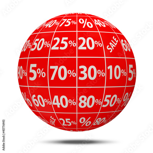 Abstract Sale Sphere with Percent Discount on white background